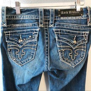 Rock Revival Jen blue boot cut jean bling size 26